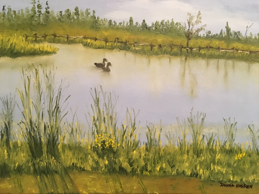 "Oil Painting titled ""Morning Swim"""